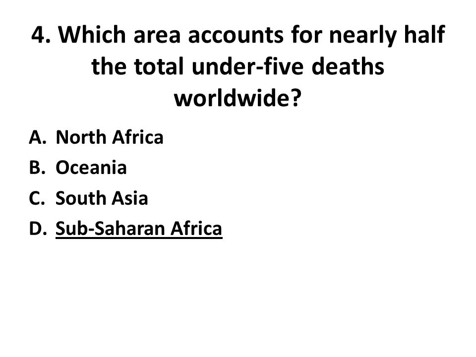 4. Which area accounts for nearly half the total under-five deaths worldwide? A.North Africa B.Oceania C.South Asia D.Sub-Saharan Africa