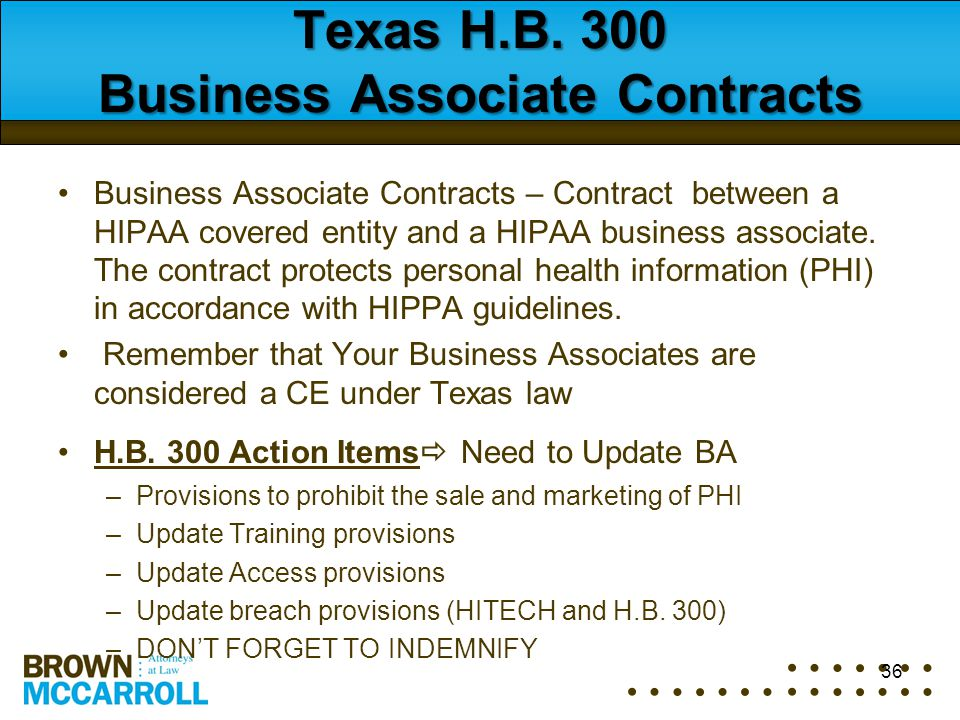 Texas H.B. 300 Business Associate Contracts Business Associate Contracts – Contract between a HIPAA covered entity and a HIPAA business associate. The
