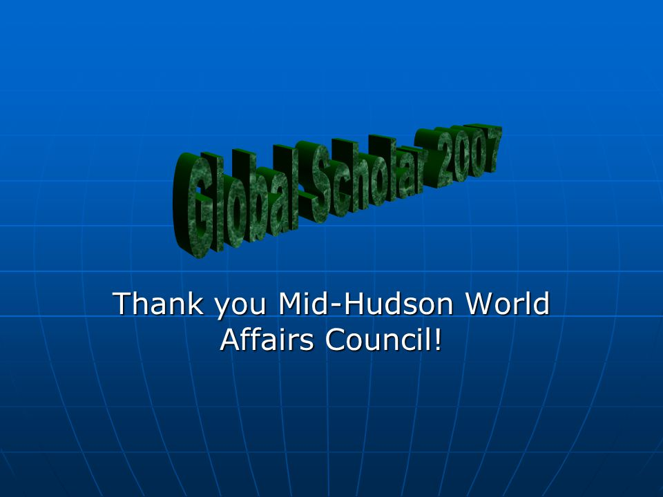 Thank you Mid-Hudson World Affairs Council!