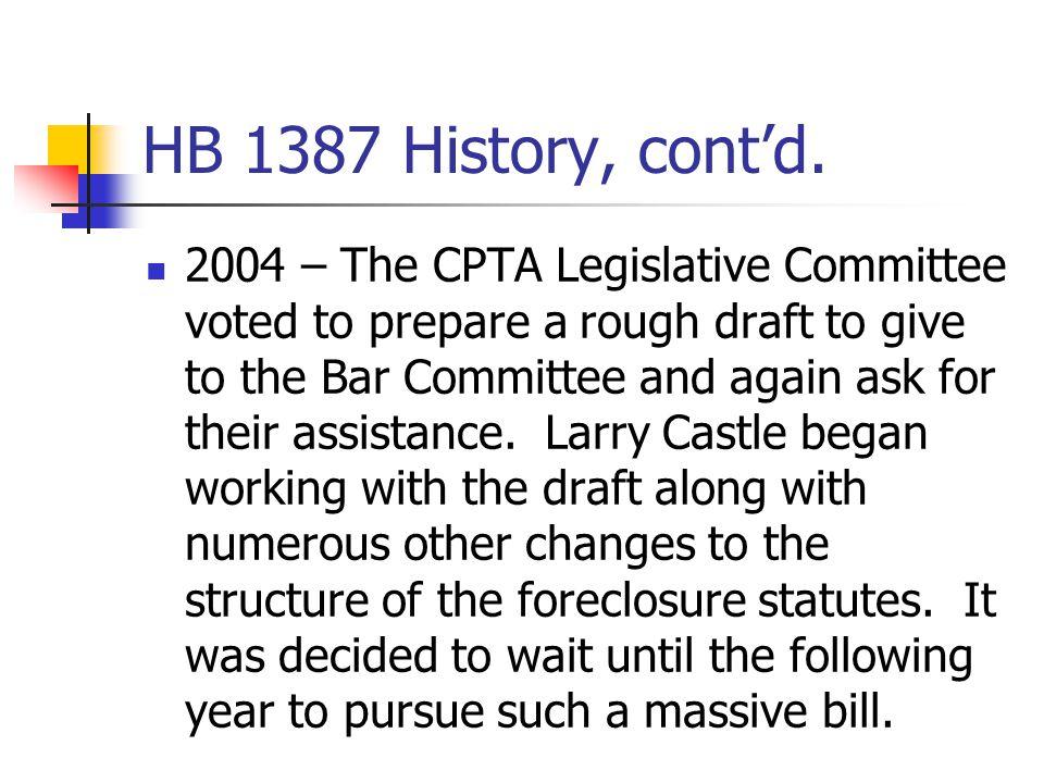 HB 1387 History, cont'd.