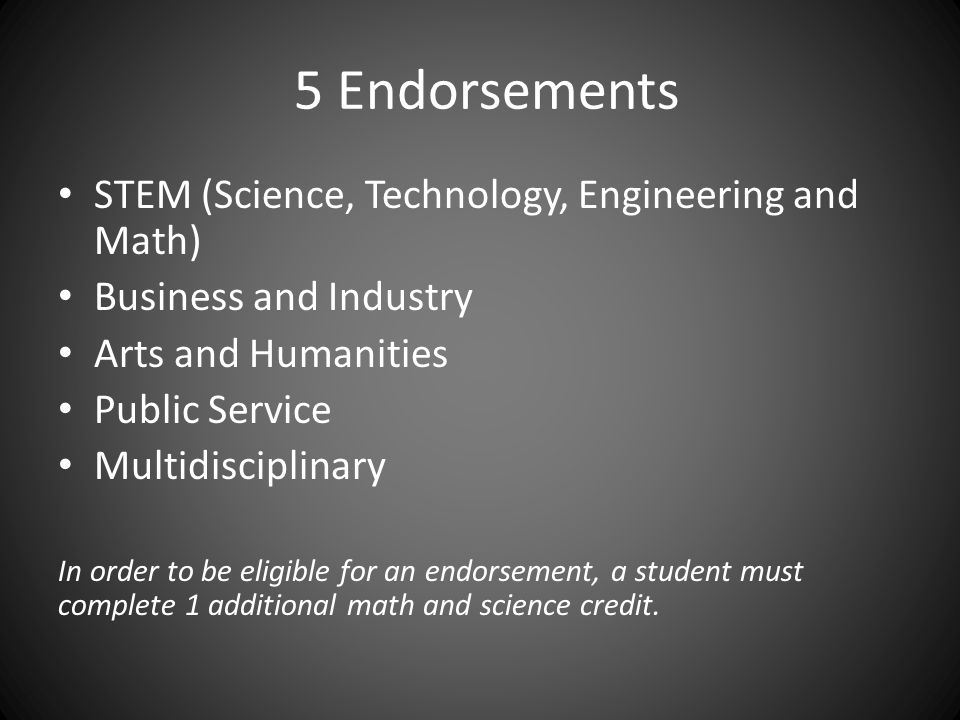 5 Endorsements STEM (Science, Technology, Engineering and Math) Business and Industry Arts and Humanities Public Service Multidisciplinary In order to