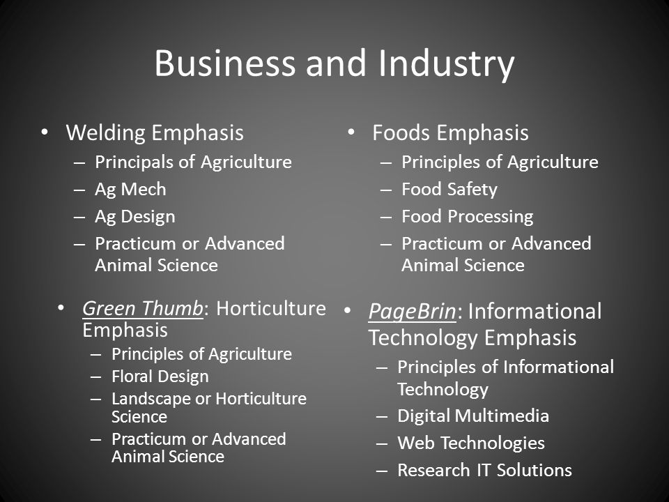 Business and Industry Welding Emphasis – Principals of Agriculture – Ag Mech – Ag Design – Practicum or Advanced Animal Science Foods Emphasis – Princ