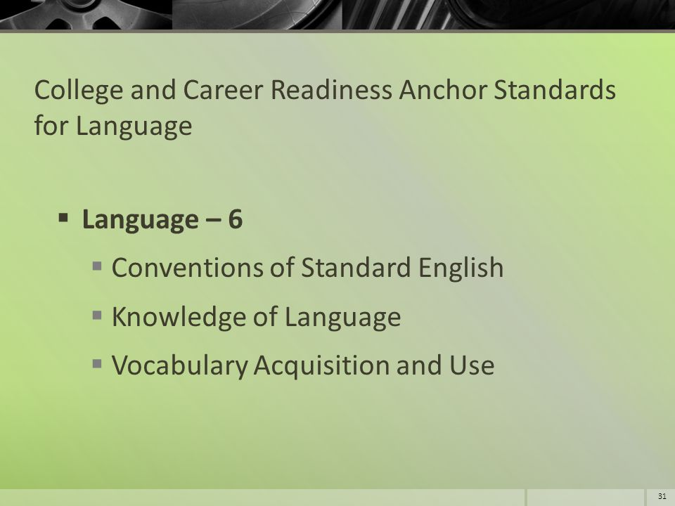 College and Career Readiness Anchor Standards for Language  Language – 6  Conventions of Standard English  Knowledge of Language  Vocabulary Acqui