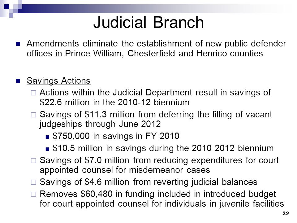 32 Judicial Branch Amendments eliminate the establishment of new public defender offices in Prince William, Chesterfield and Henrico counties Savings Actions  Actions within the Judicial Department result in savings of $22.6 million in the 2010-12 biennium  Savings of $11.3 million from deferring the filling of vacant judgeships through June 2012 $750,000 in savings in FY 2010 $10.5 million in savings during the 2010-2012 biennium  Savings of $7.0 million from reducing expenditures for court appointed counsel for misdemeanor cases  Savings of $4.6 million from reverting judicial balances  Removes $60,480 in funding included in introduced budget for court appointed counsel for individuals in juvenile facilities