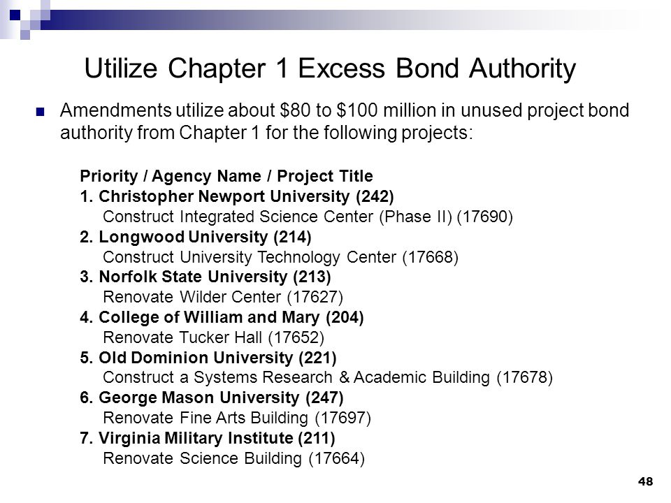 48 Utilize Chapter 1 Excess Bond Authority Amendments utilize about $80 to $100 million in unused project bond authority from Chapter 1 for the following projects: Priority / Agency Name / Project Title 1.