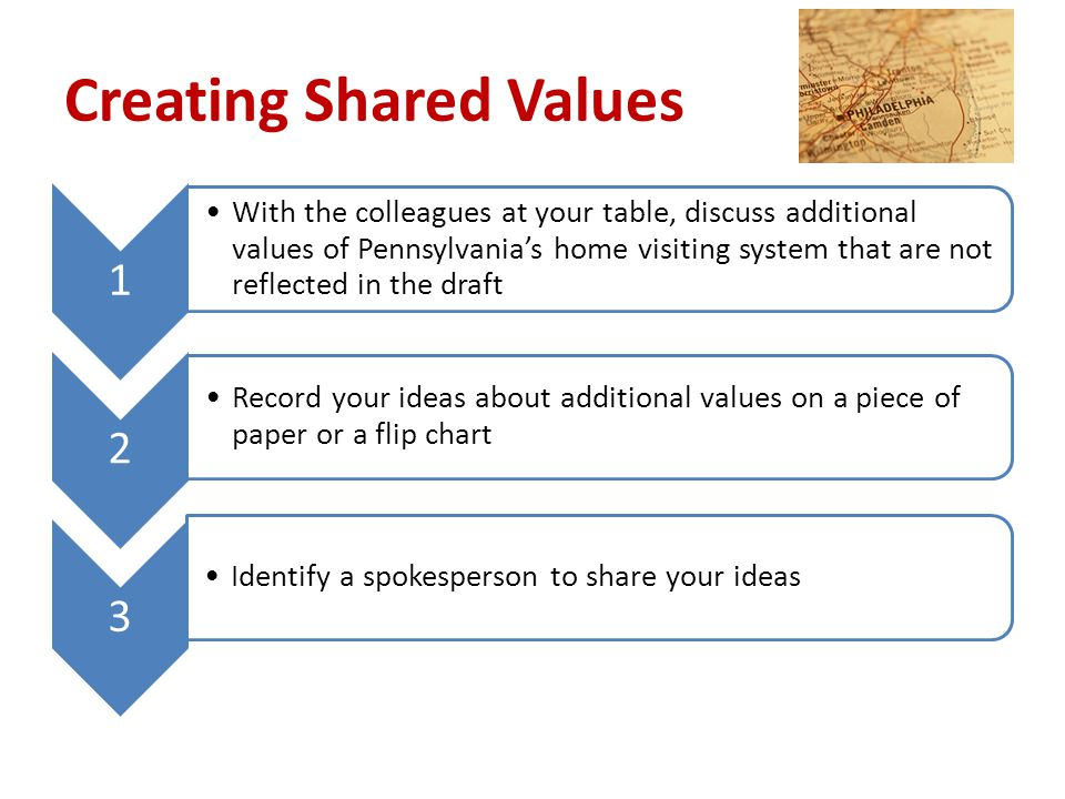 Creating Shared Values 1 With the colleagues at your table, discuss additional values of Pennsylvania's home visiting system that are not reflected in the draft 2 Record your ideas about additional values on a piece of paper or a flip chart 3 Identify a spokesperson to share your ideas