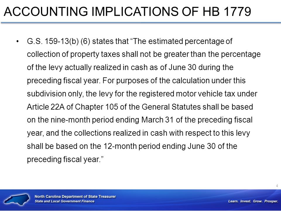ACCOUNTING IMPLICATIONS OF HB 1779 G.S.
