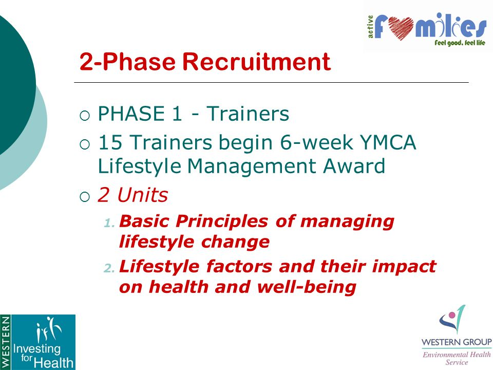 2-Phase Recruitment  PHASE 1 - Trainers  15 Trainers begin 6-week YMCA Lifestyle Management Award  2 Units 1.