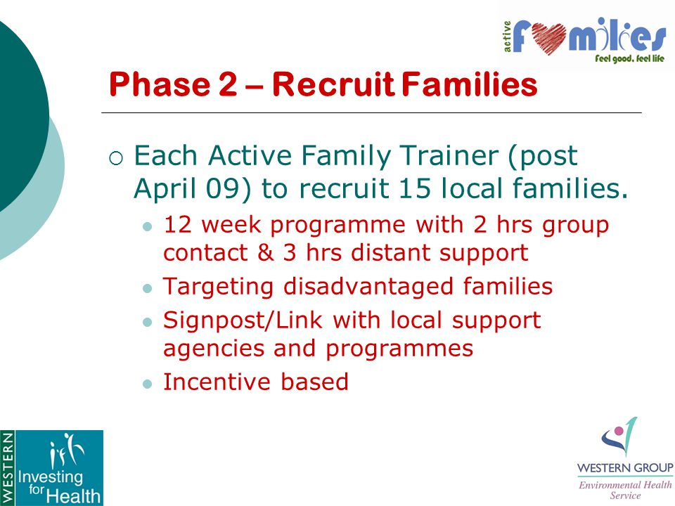 Phase 2 – Recruit Families  Each Active Family Trainer (post April 09) to recruit 15 local families.