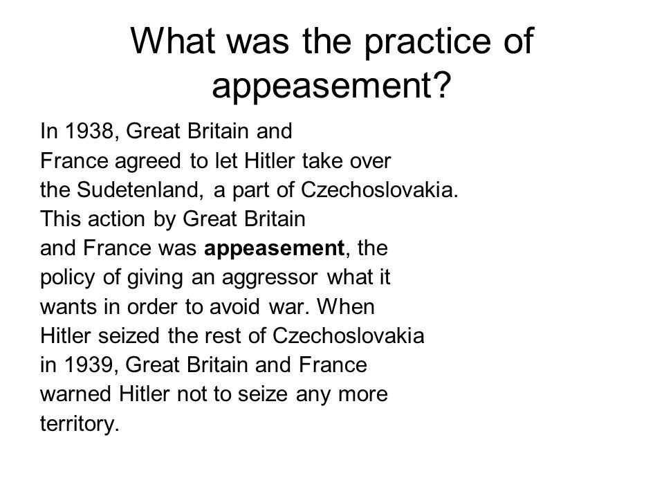 When did appeasement end.On September 1, 1939, German troops invaded Poland.