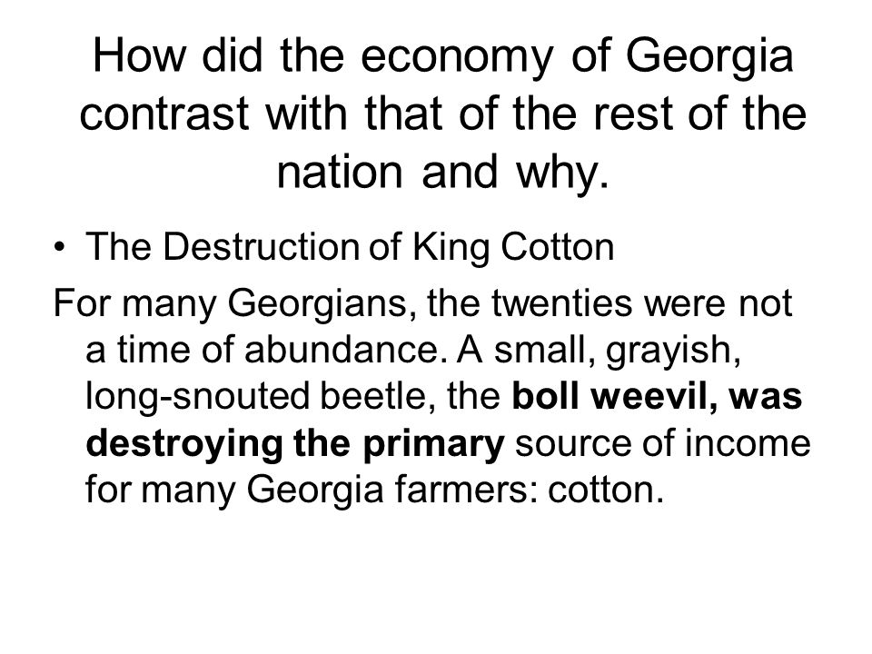 What two things were responsible for the decline in Georgia? Drought Boll Weevil