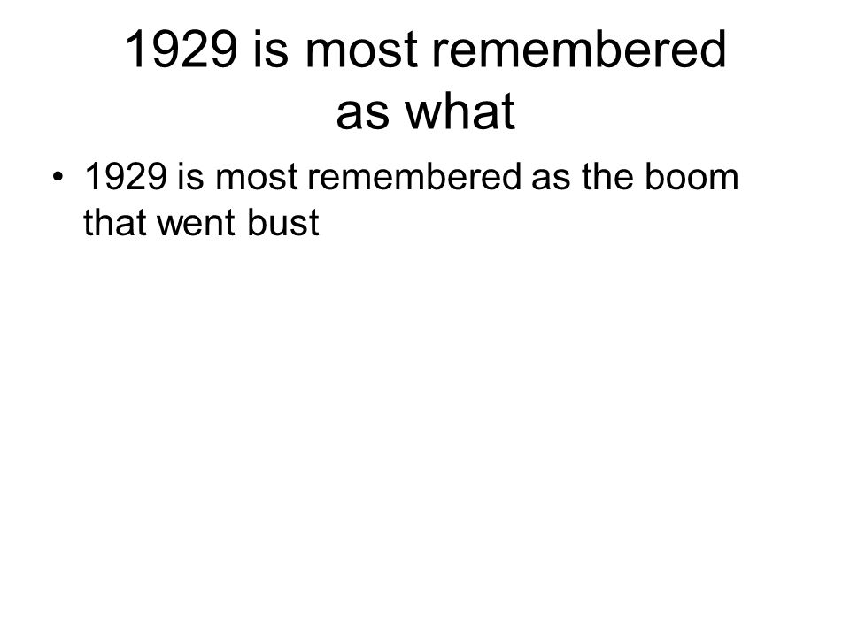 What happened to the stock market in 1929.