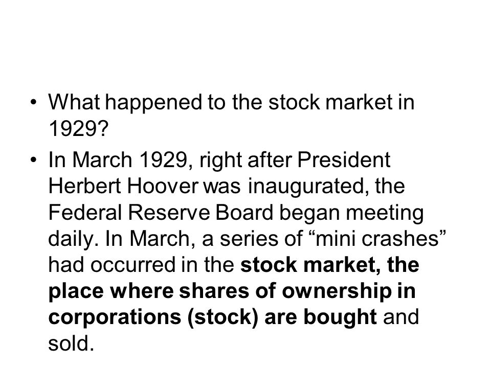 On Tuesday, October 29, 1929, a day known as Black Tuesday, the stock market crashed. By the end of that day, millions of Americans had lost everything they had.