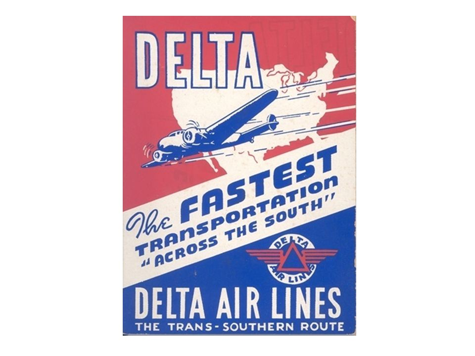 In 1936, Delta flew the Lockheed 10 Electras, which cruised 160 miles per hour and held 10 passengers, 2 pilots and our first complimentary meal service—box lunches served by the co-pilot.