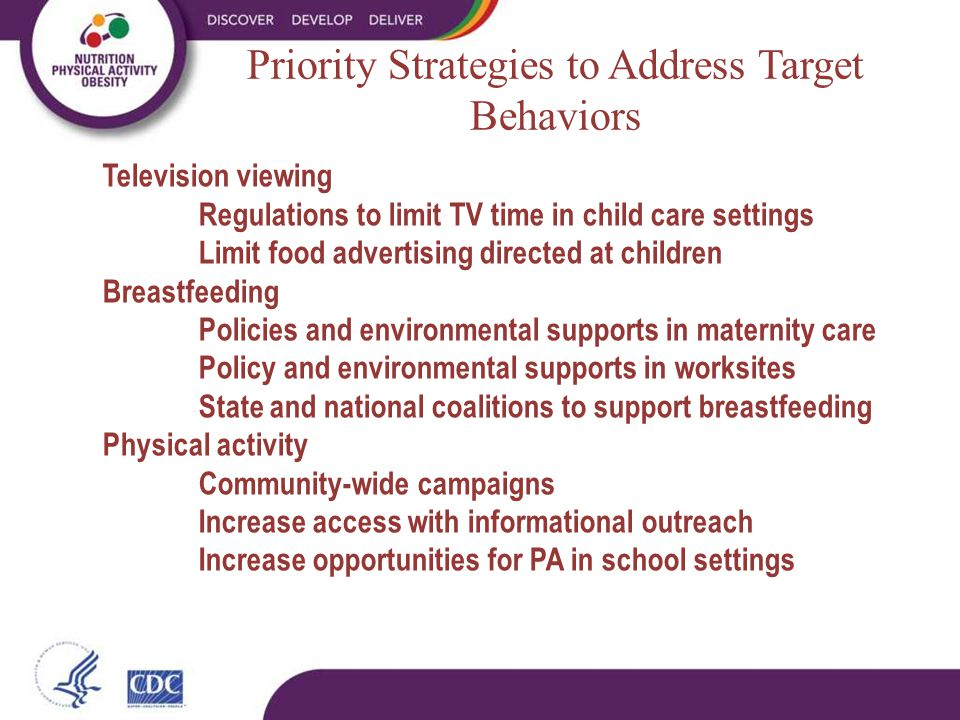 Priority Strategies to Address Target Behaviors Television viewing Regulations to limit TV time in child care settings Limit food advertising directed at children Breastfeeding Policies and environmental supports in maternity care Policy and environmental supports in worksites State and national coalitions to support breastfeeding Physical activity Community-wide campaigns Increase access with informational outreach Increase opportunities for PA in school settings