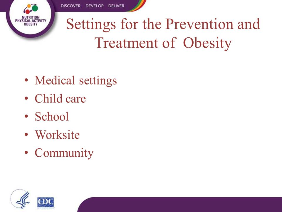 Medical settings Child care School Worksite Community Settings for the Prevention and Treatment of Obesity