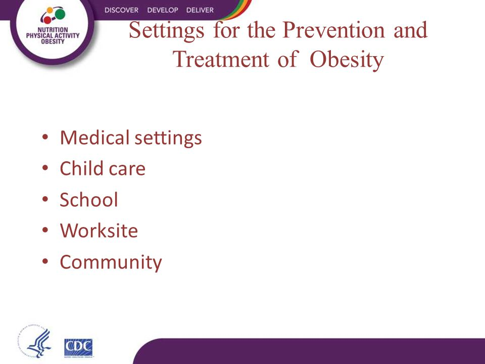 Settings for the Prevention and Treatment of Obesity Medical settings Child care School Worksite Community
