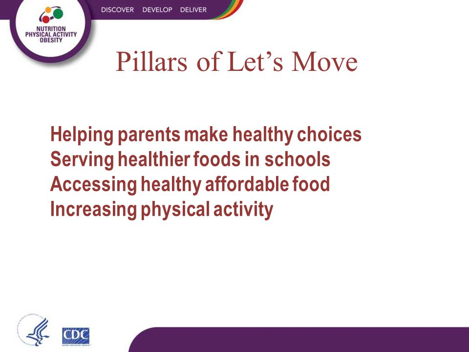 Pillars of Let's Move Helping parents make healthy choices Serving healthier foods in schools Accessing healthy affordable food Increasing physical activity