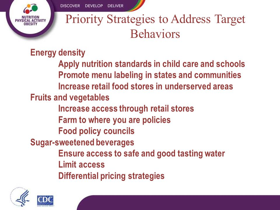 Priority Strategies to Address Target Behaviors Energy density Apply nutrition standards in child care and schools Promote menu labeling in states and communities Increase retail food stores in underserved areas Fruits and vegetables Increase access through retail stores Farm to where you are policies Food policy councils Sugar-sweetened beverages Ensure access to safe and good tasting water Limit access Differential pricing strategies