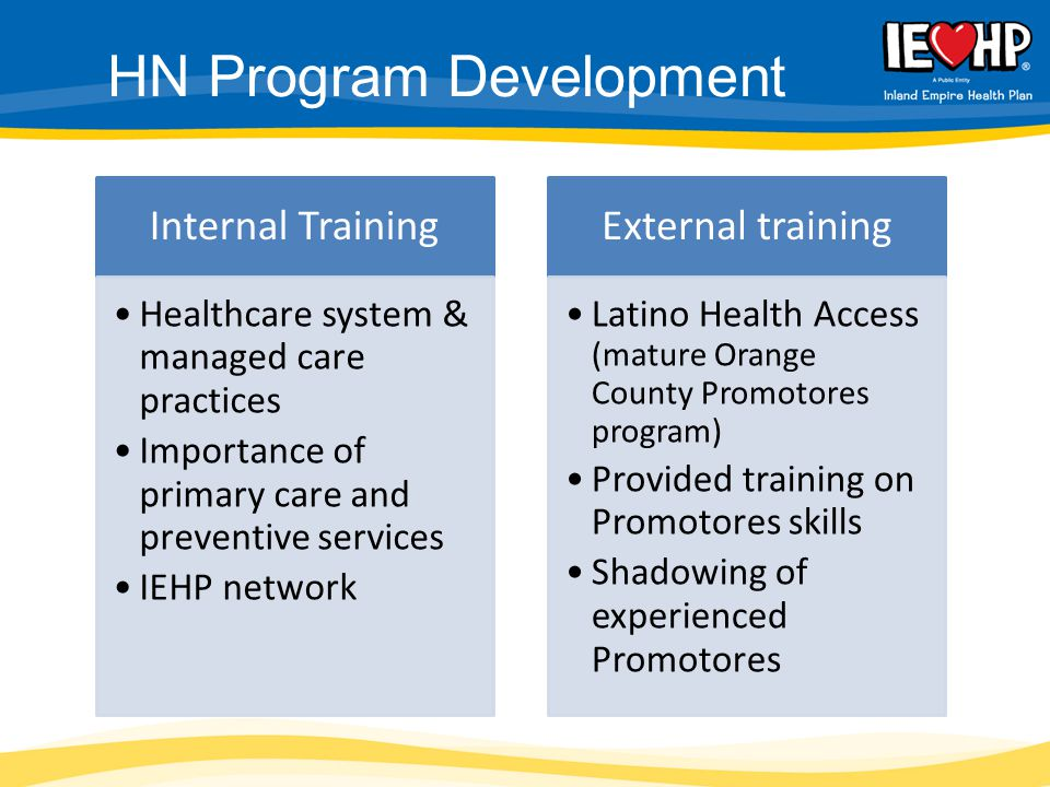 Internal Training Healthcare system & managed care practices Importance of primary care and preventive services IEHP network External training Latino