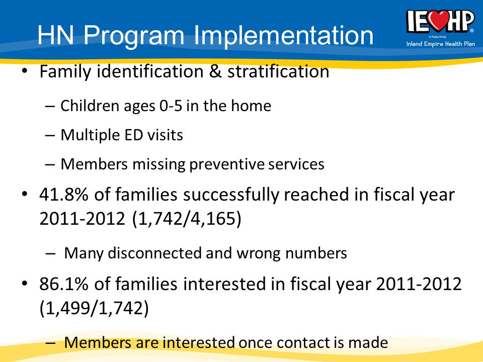 Family identification & stratification – Children ages 0-5 in the home – Multiple ED visits – Members missing preventive services 41.8% of families successfully reached in fiscal year 2011-2012 (1,742/4,165) – Many disconnected and wrong numbers 86.1% of families interested in fiscal year 2011-2012 (1,499/1,742) – Members are interested once contact is made HN Program Implementation