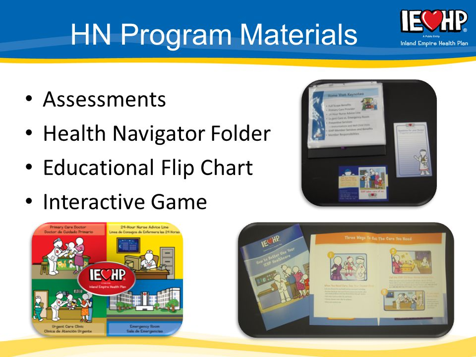 HN Program Materials Assessments Health Navigator Folder Educational Flip Chart Interactive Game