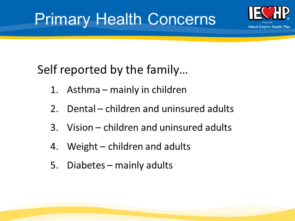Self reported by the family… 1.Asthma – mainly in children 2.Dental – children and uninsured adults 3.Vision – children and uninsured adults 4.Weight – children and adults 5.Diabetes – mainly adults Primary Health Concerns