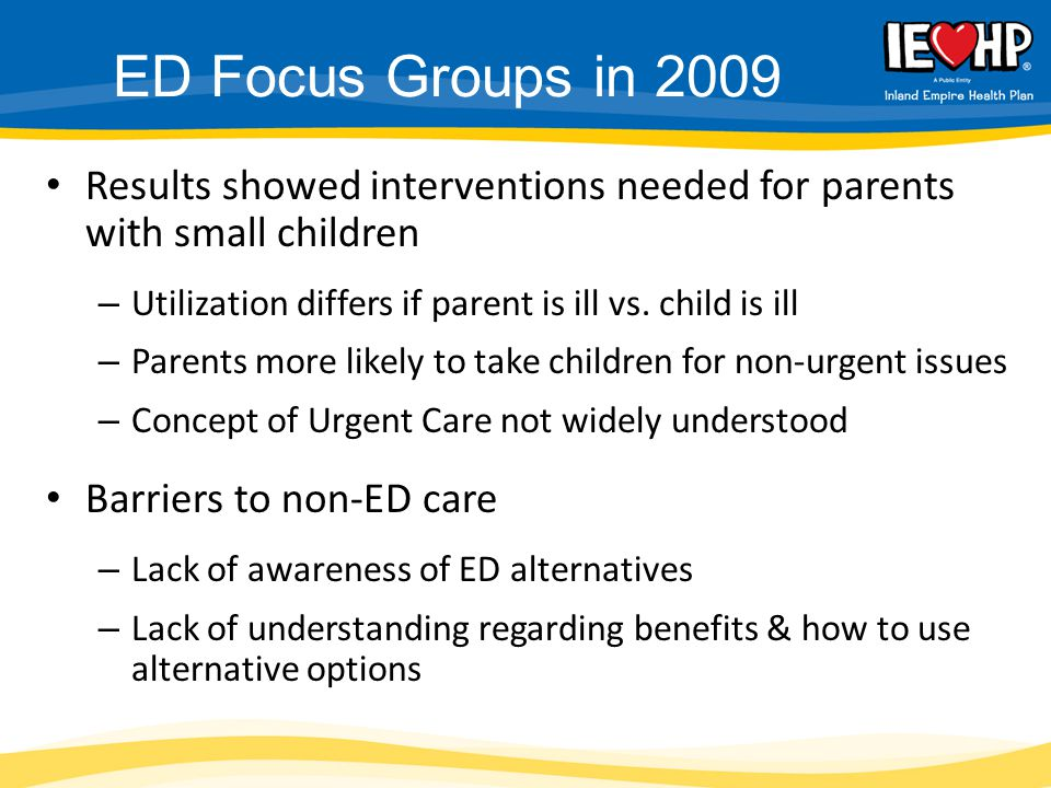 Results showed interventions needed for parents with small children – Utilization differs if parent is ill vs.
