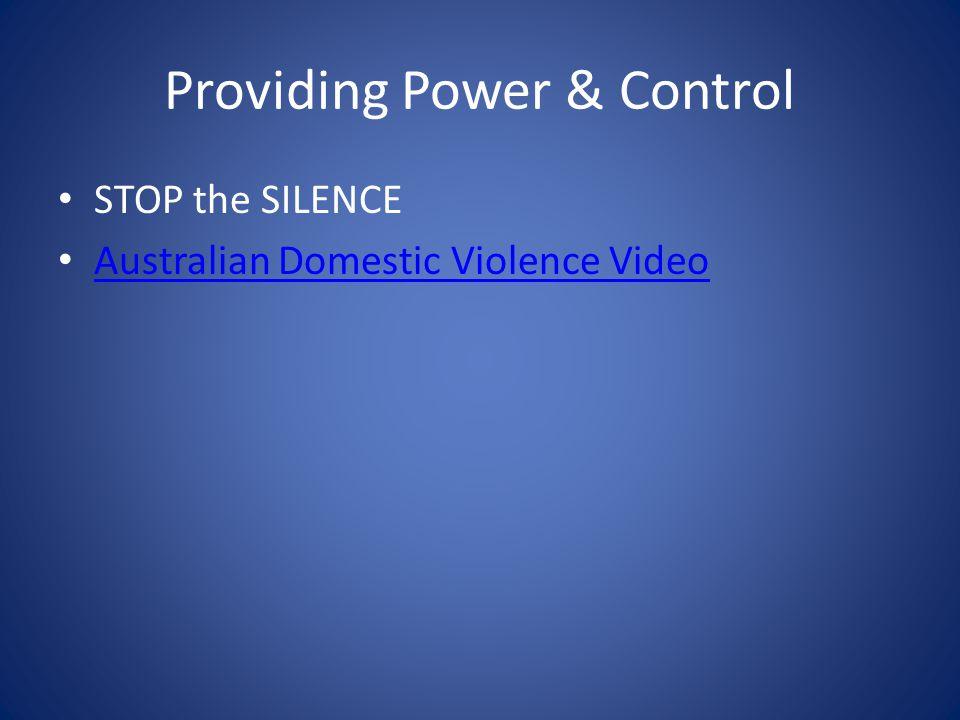 Providing Power & Control STOP the SILENCE Australian Domestic Violence Video