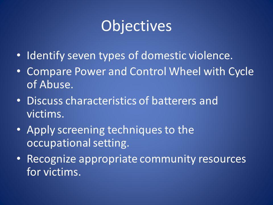 Objectives Identify seven types of domestic violence.