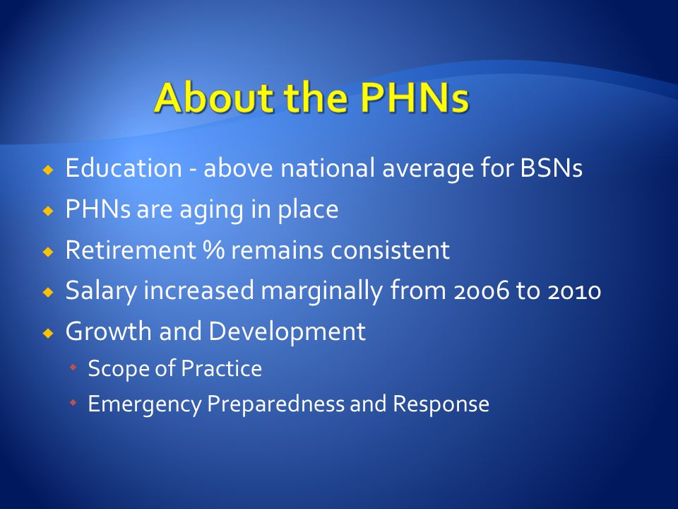  Education - above national average for BSNs  PHNs are aging in place  Retirement % remains consistent  Salary increased marginally from 2006 to 2010  Growth and Development  Scope of Practice  Emergency Preparedness and Response