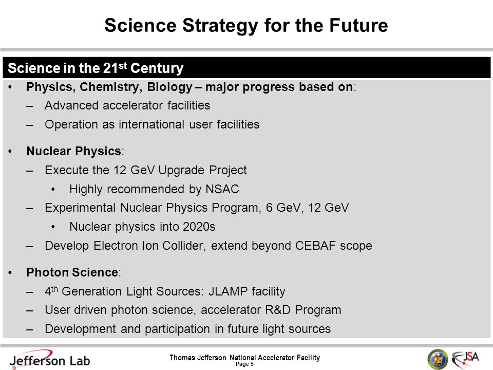 Thomas Jefferson National Accelerator Facility Page 5 Science Strategy for the Future Science in the 21 st Century Physics, Chemistry, Biology – major
