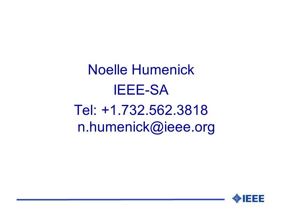 Noelle Humenick IEEE-SA Tel: +1.732.562.3818 n.humenick@ieee.org