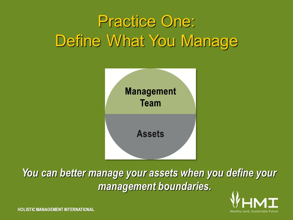 HOLISTIC MANAGEMENT INTERNATIONAL Practice One: Define What You Manage You can better manage your assets when you define your management boundaries.