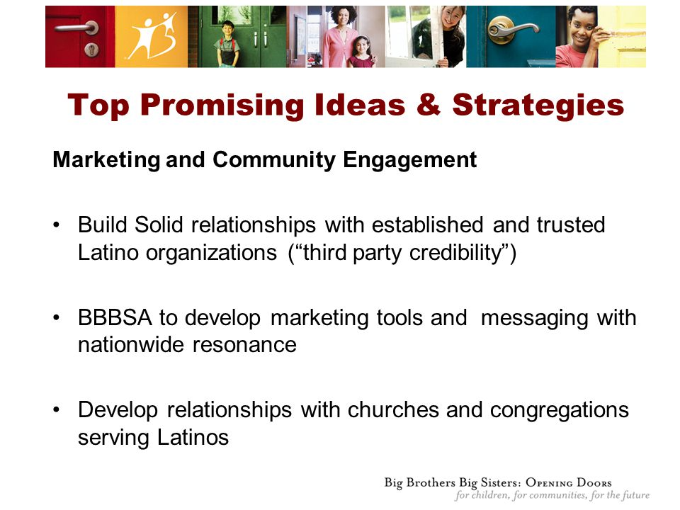 Top Promising Ideas & Strategies Marketing and Community Engagement Build Solid relationships with established and trusted Latino organizations ( third party credibility ) BBBSA to develop marketing tools and messaging with nationwide resonance Develop relationships with churches and congregations serving Latinos
