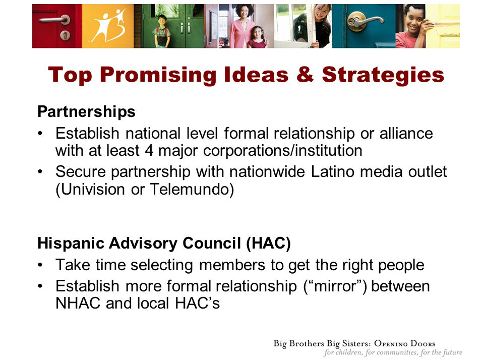Top Promising Ideas & Strategies Partnerships Establish national level formal relationship or alliance with at least 4 major corporations/institution Secure partnership with nationwide Latino media outlet (Univision or Telemundo) Hispanic Advisory Council (HAC) Take time selecting members to get the right people Establish more formal relationship ( mirror ) between NHAC and local HAC's