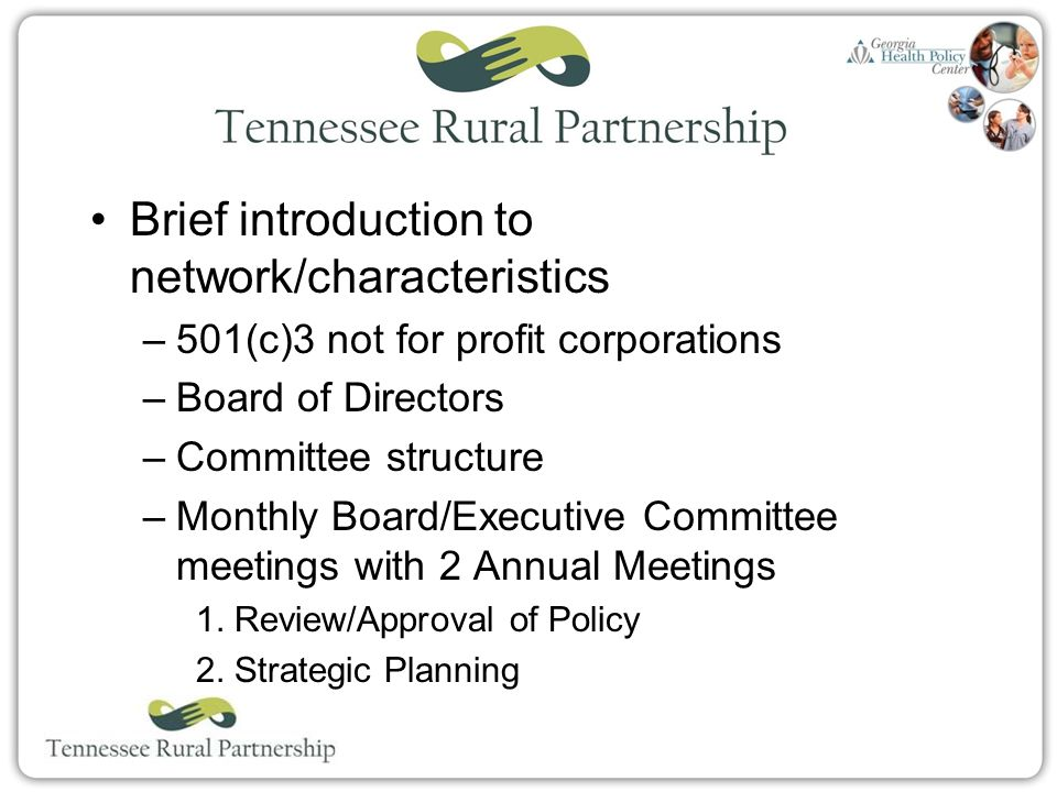 Organization Name Brief introduction to network/characteristics –501(c)3 not for profit corporations –Board of Directors –Committee structure –Monthly