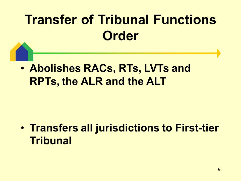 7 Regulations The Tribunal Procedure (First-tier Tribunal) (Property Chamber) Rules 2013 Replaces all procedure rules that previously applied to the Tribunals