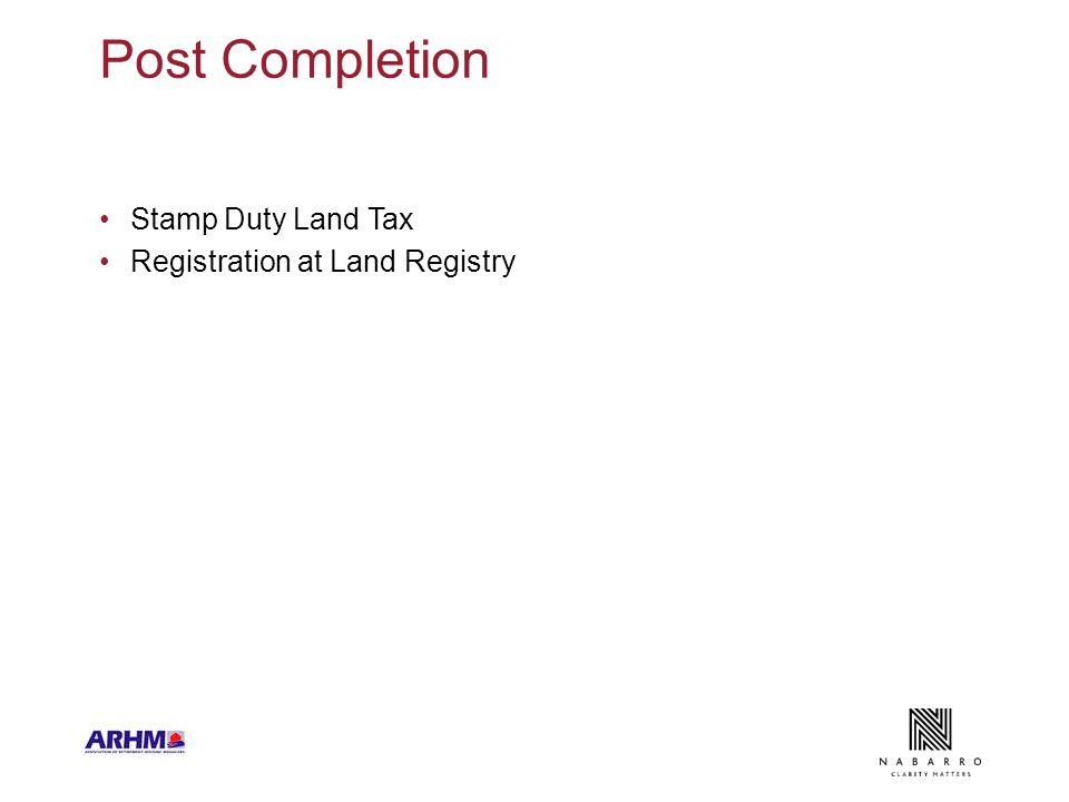 Post Completion Stamp Duty Land Tax Registration at Land Registry
