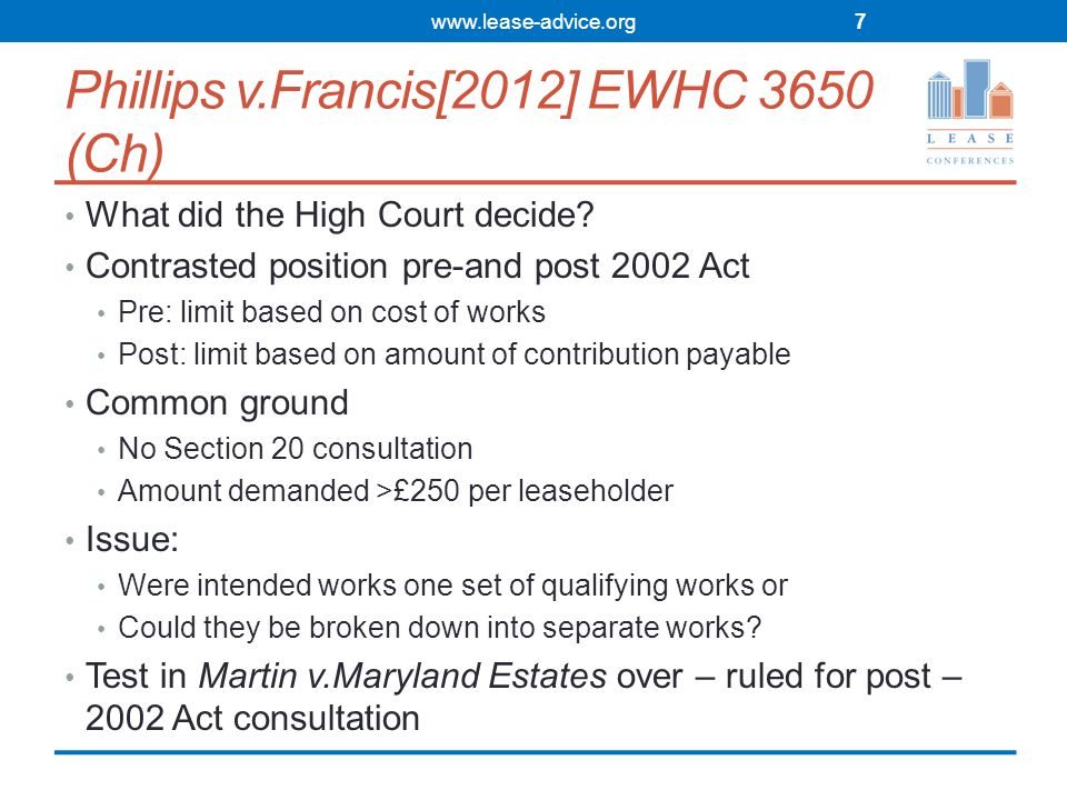 Phillips v.Francis[2012] EWHC 3650 (Ch) What did the High Court decide.