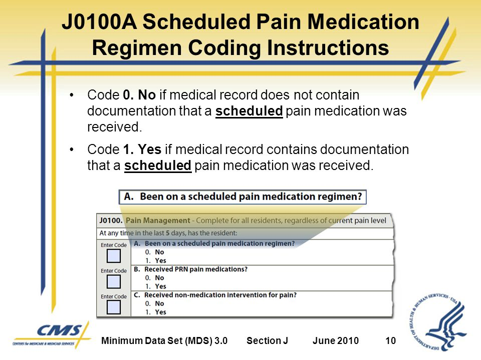 Minimum Data Set (MDS) 3.0Section JJune 201010 J0100A Scheduled Pain Medication Regimen Coding Instructions Code 0.