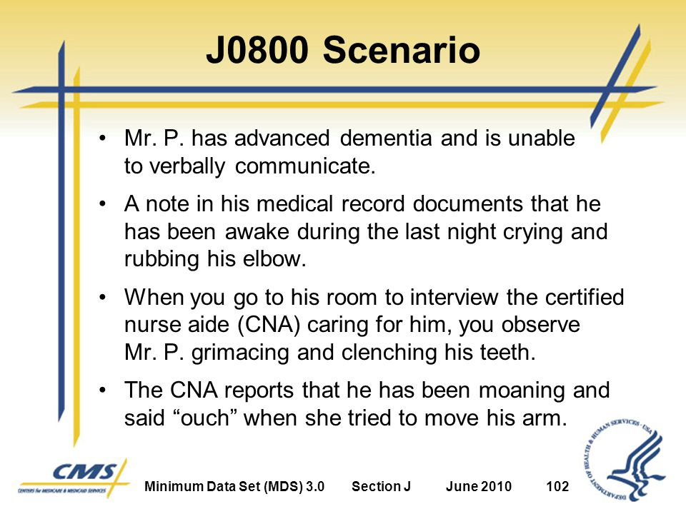 Minimum Data Set (MDS) 3.0Section JJune 2010102 J0800 Scenario Mr.