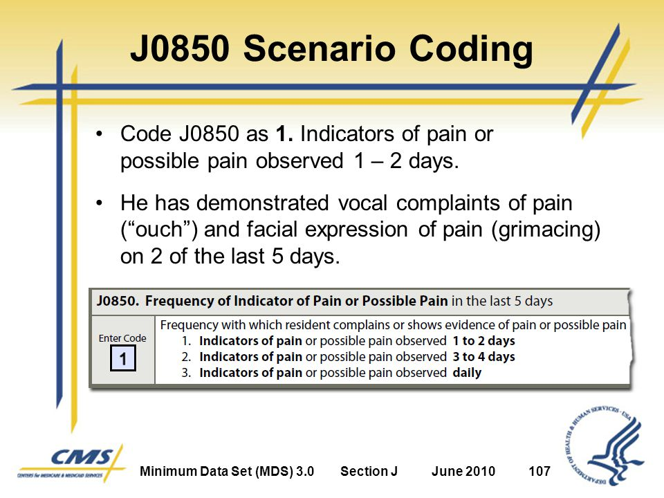 Minimum Data Set (MDS) 3.0Section JJune 2010107 J0850 Scenario Coding Code J0850 as 1.