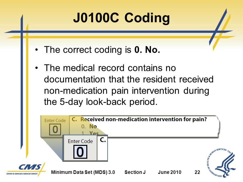 Minimum Data Set (MDS) 3.0Section JJune 201022 J0100C Coding The correct coding is 0.