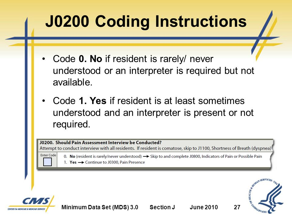 Minimum Data Set (MDS) 3.0Section JJune 201027 J0200 Coding Instructions Code 0.