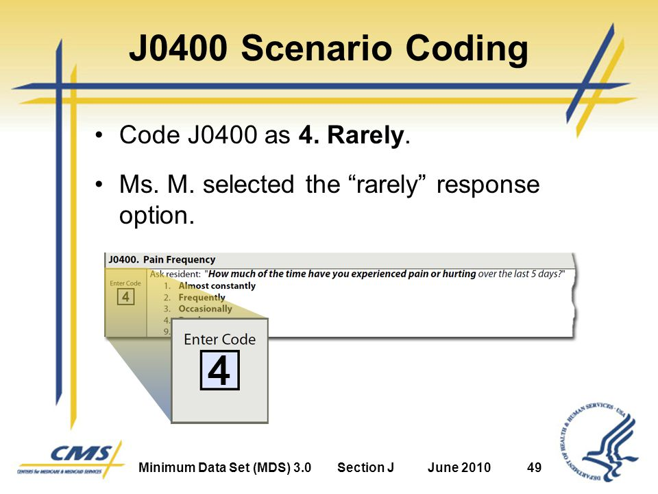 Minimum Data Set (MDS) 3.0Section JJune 201049 J0400 Scenario Coding Code J0400 as 4.