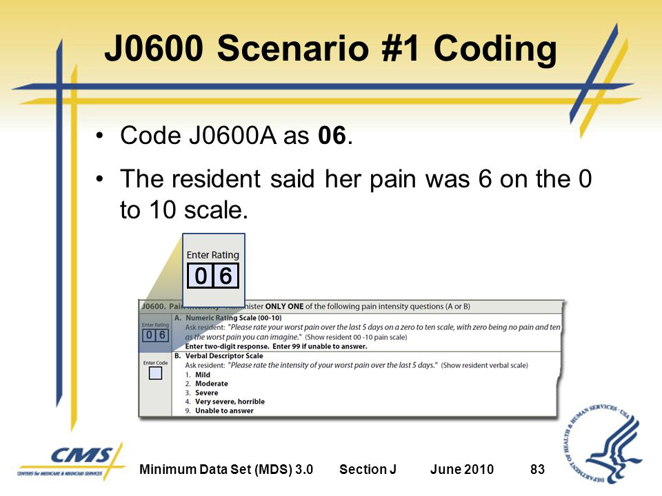 Minimum Data Set (MDS) 3.0Section JJune 201083 J0600 Scenario #1 Coding Code J0600A as 06.