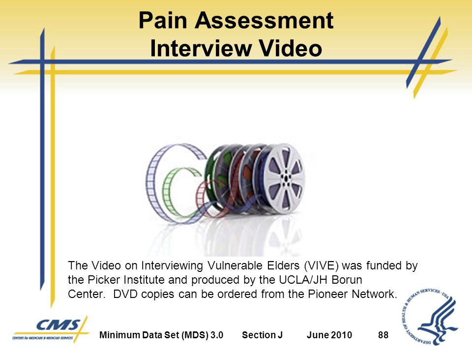 Minimum Data Set (MDS) 3.0Section JJune 201088 Pain Assessment Interview Video The Video on Interviewing Vulnerable Elders (VIVE) was funded by the Picker Institute and produced by the UCLA/JH Borun Center.