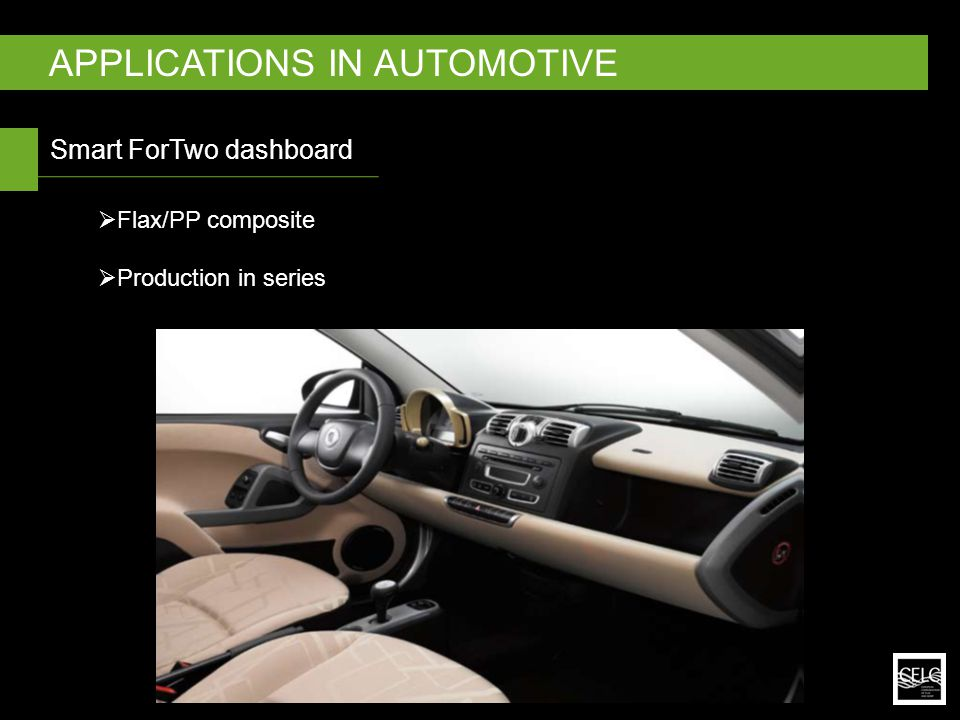 Smart ForTwo dashboard APPLICATIONS IN AUTOMOTIVE  Flax/PP composite  Production in series