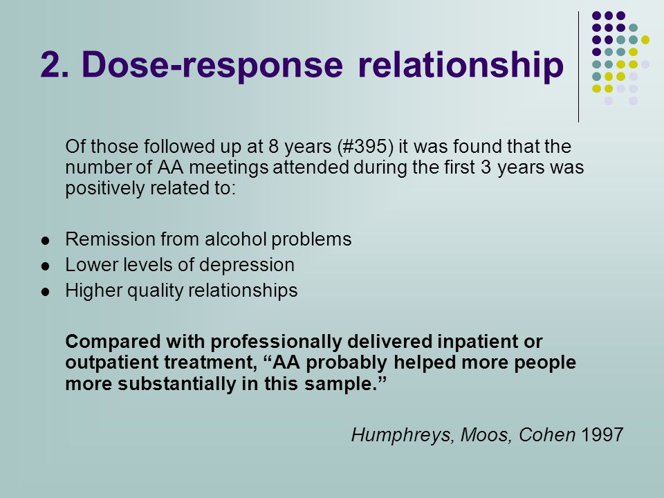 Of those followed up at 8 years (#395) it was found that the number of AA meetings attended during the first 3 years was positively related to: Remission from alcohol problems Lower levels of depression Higher quality relationships Compared with professionally delivered inpatient or outpatient treatment, AA probably helped more people more substantially in this sample. Humphreys, Moos, Cohen 1997 2.